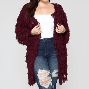 Sweaters - Burgundy fringe cardigan